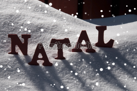 card with snow and word natal