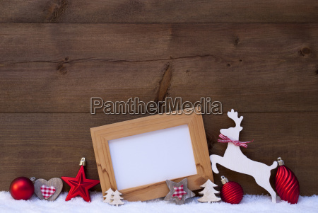 red christmas card with decoration on