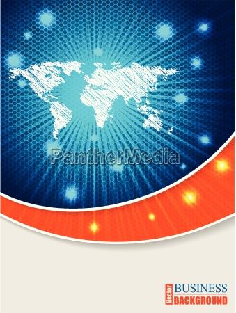 bursting map brochure with orange wave