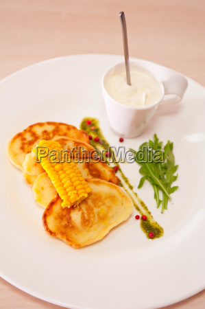 corn pancakes in plate