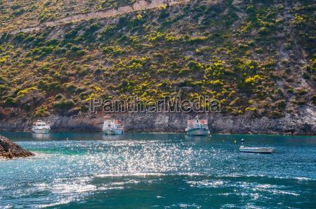 boats moored at porto vromi