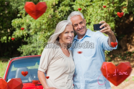 composite image of cheerful mature couple