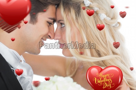 composite image of happy young married