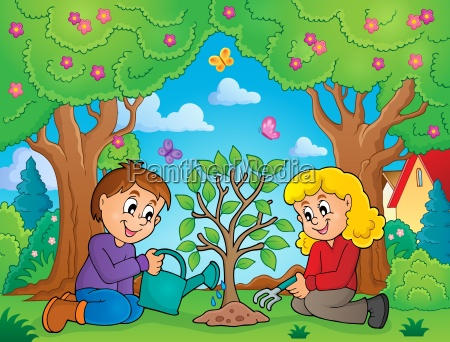 kids planting tree theme image 2