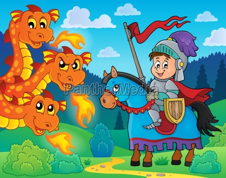 knight on horse and lurking dragon
