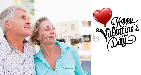 composite image of happy mature couple