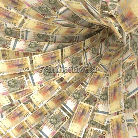 money vortex of 50 swedish kronor