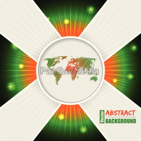 abstract orange green background with world
