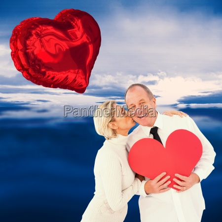 composite image of older affectionate couple