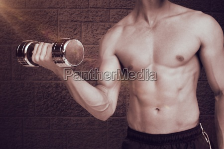 composite image of fit shirtless man