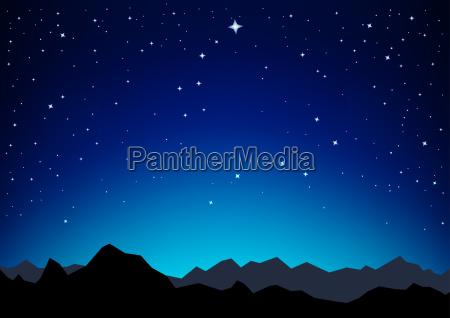 star sky mountains