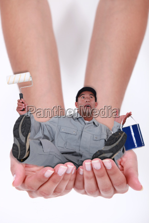 man falling in hands of a