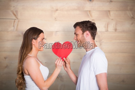 composite image of romantic young couple
