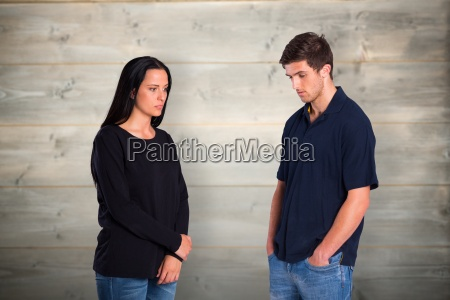 composite image of couple not talking