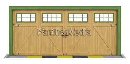 classic two car wooden garage on