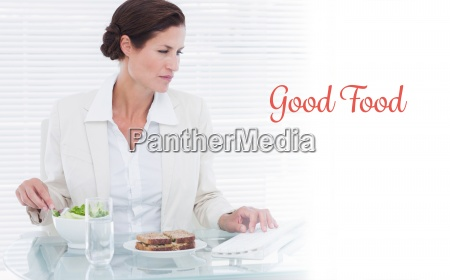 good food against businesswoman using computer