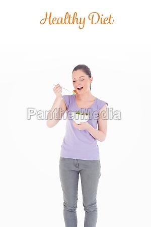 healthy diet against pretty woman eating