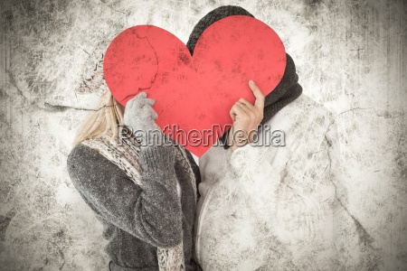 composite image of couple in winter