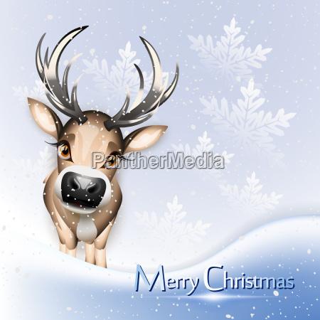 christmas card with cute reindeer