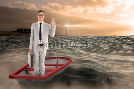 composite image of businessman waving in