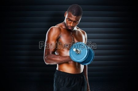 composite image of determined fit shirtless
