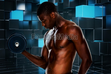 composite image of serious fit shirtless