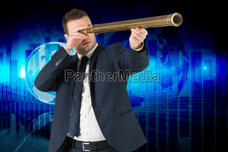 composite image of businessman looking through
