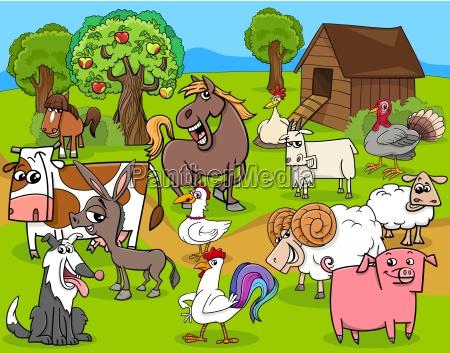 farm animals group cartoon
