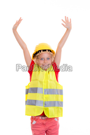blond girl with reflective vest and