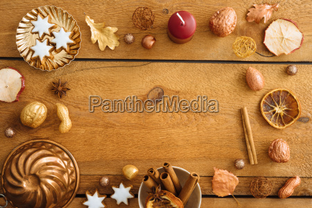 christmas decoration on blue wood