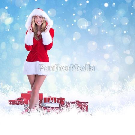 pretty santa girl smiling at camera