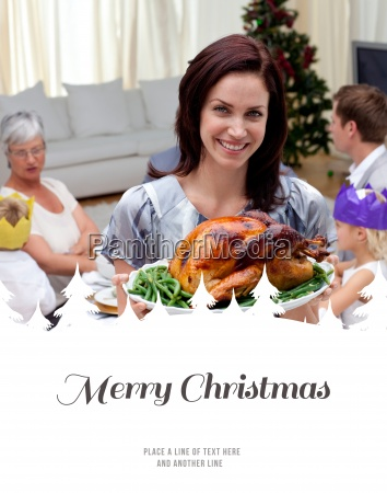 composite image of woman showing christmas