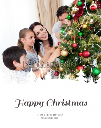 composite image of happy family decorating