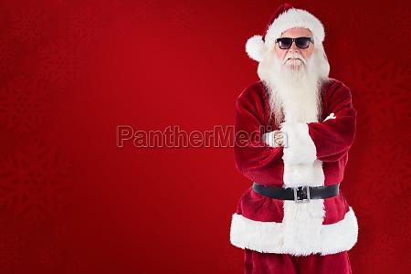 composite image of santa claus wears