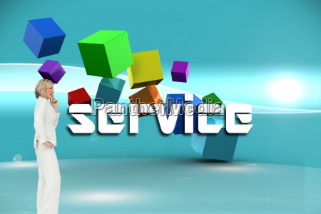 service against futuristic bright blue background
