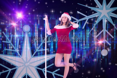 composite image of pretty santa girl