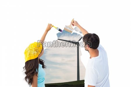 composite image of happy young couple