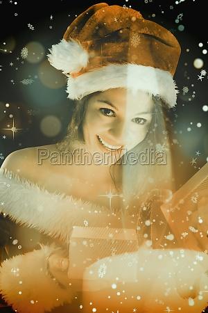 composite image of pretty brunette in