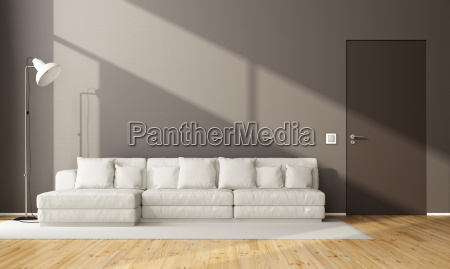minimalist brown living room