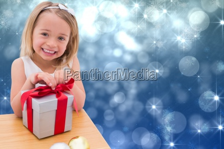 composite image of festive little girl