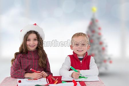composite image of cute siblings drawing