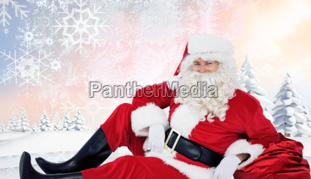 composite image of relaxed santa sitting