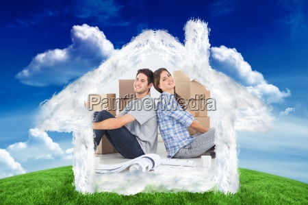 composite image of couple sitting back