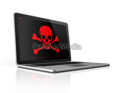 laptop with a pirate symbol on