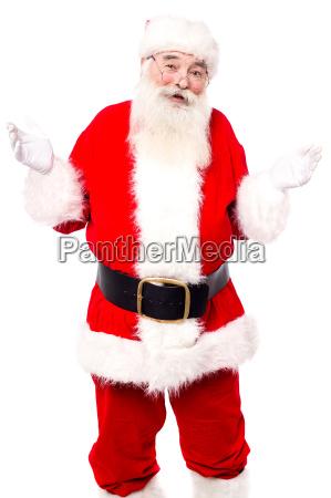 old happy santa posing over white