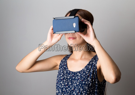 woman using the vr device