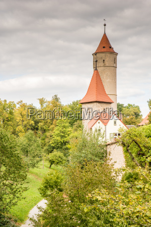 medieval watch tower in dinkelsbuehl