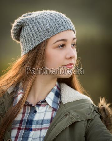 beautiful teenage girl in warm coat