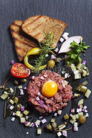 steak tartare with slate