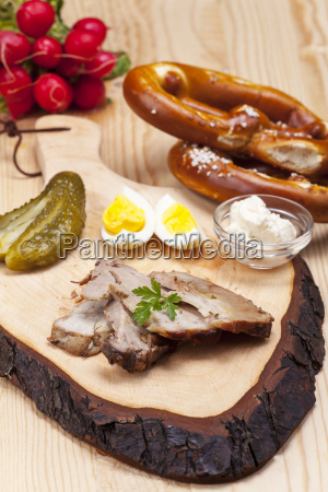 cold bavarian roast pork into slices